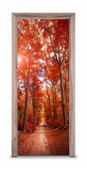 Naklejka na drzwi - Czerwony las 7401